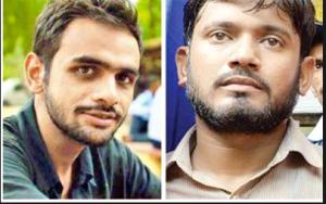 Umar Khalid (L) and Kanhaiya Kumar